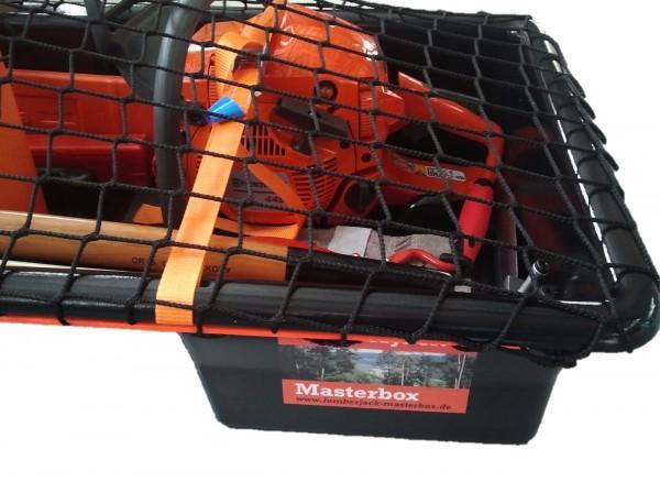 Box für Kettensäge / Motorsäge mit Abdecknetz