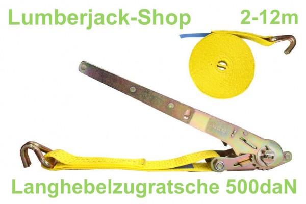 Langhebelzugratsche mit Spitzhaken 500daN 2-12m
